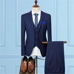 Wholesale Green Dress Waistcoats - Wholesale- Jacket + Pant + Vest   2017 New Men Business Slim Suits Sets Wedding Dress Three-piece Suit Blazers Coat Trousers Waistcoat