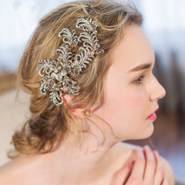 Wholesale Vintage Rhinestone Hair Clips - beijia Rhinestone Branch Hair Clip Barrettes Vintage Wedding Headpiece Bridal Hair Accessories Comb Handmade Women Jewelry