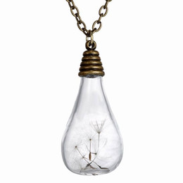 "Wholesale Plants Seeds Bulbs - Fashion Vintage Retro Jewelry Necklaces Dried Dandelion Seed Glass Locket Light Bulb Pendant Necklace with 23"" Rolo Chain 156N38"