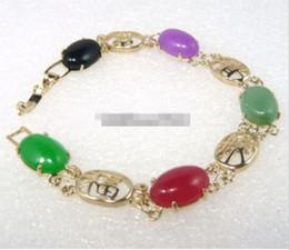 Wholesale Cost Silver Bracelet - New cost Silver Tibet jade pear bracelet >>>>>Multicolor Red Gree Purple Jade Black Agate 18KGP Fortune Longevity Bracelet