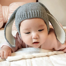 Wholesale Long Black Rabbit Ears - Autumn Winter Toddler Infant Knitted Beanies Baby Hats Adorable Rabbit Long Ear Hats Bunny Beanie Caps 4 colors 6-18M