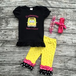 Wholesale Wholesale School Girl Outfits - Wholesale- baby clothes baby girls car applique capri set girls back to school outfits kindergarden clothes with matching headband necklace