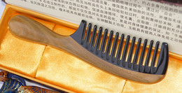 Wholesale Hair Tooth Comb - brand Wide Tooth Horn comb sandal Wood comb curl Hair Comb Handmade comb-722
