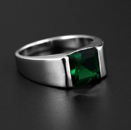 Wholesale Diamond Ring Solitaire Princess - Wholesale Solitaire Fashion Jewelry 925 Sterling Silver Princess Square Green CZ Diamond Gemstones Wedding Men Band Ring Gift Size 8-12