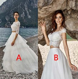 Wholesale Cheap High Top Shorts - 2 piece beach wedding dresses 2017 cheap lace top tulle skirt plus size wedding gowns 2017 Eddy K bridal gowns
