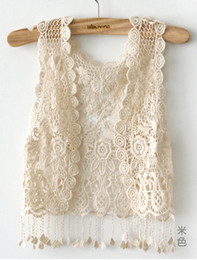 Wholesale Crochet Vests For Women - Sexy Beach Embroidery Vintage Retro Sweet Cute girls Crochet Floral Hollow Lace Vest outwear Slim Bohemia Tank Top Blouse For Women
