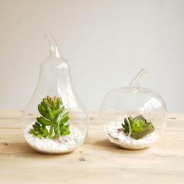 Wholesale Wedding Glass Vase Set - Hanging glass vase, apple + pear vase, 2 PCS   set, flat bottom, free shipping, hanging terrarium  wedding & Party Use