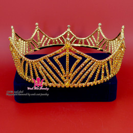 Wholesale Crowns Tiara S - King Crown Tiara Cosplay Hairwear Prince Men`s Gold Colour Fashion Rhinestone Crown Party Prom Night Clup Show Imperial State Mo105