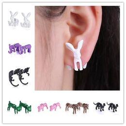 Wholesale Cuff Earrings For Men - Red Crystal Eyes 3D cute Black Fashion Jewelry Kitten Piercing Pearl Ear Stud Cuff Earrings For Women Men
