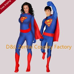 Wholesale Superman Lycra Catsuit - Free Shipping DHL Unisex Lycra Spandex SUPERMAN SUPERGIRL ZENTAI BODYSUIT Halloween Party Costume SG103