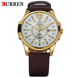 Wholesale Curren Leather - Hot Men's Casual CURREN 8123 watches men Luxury brand quartz Watch leather strap Sports Waterproof Wristwatch Business casual watches