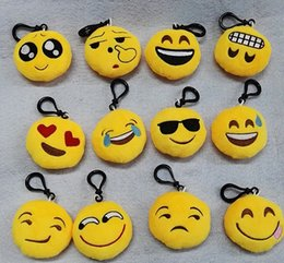 Wholesale Wholesale Plush Toys Keychains - Cute Chinese QQ emoji Toys key chain 6cm emoticons smiley little pendant emotion yellow QQ plush cotton trendy pants handbag pendant