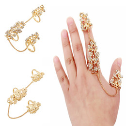 Wholesale Cute Cross Ring - Exquisite Cute Shiny Charms Rhinestone Cross Knuckle Elegant Rings Punk Rock Knuckle Joint Armor Full Finger Ring Set D850L