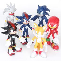 Wholesale dragon ball pvc - 6 pieces   set. games Sonic The Hedgehog Tails Knuckles echidna Shadow Hedgehog Super Sonic PVC Figure Model Toy 12cm