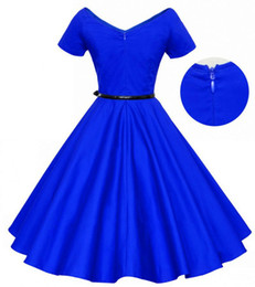Wholesale Women Skirts Blue Pleated - 2016 Summer style women dress solid colour cotton Casual vestidos Grace Karin short sleeve 50s Full-skirted Dresses 0512-23