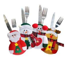 Wholesale Christmas Stocking Holders Wholesale - Christmas Stocking Bags Dining Table Knife Fork Holder Navidad Christmas Decoration Party Supplies Christmas Decor CCA7785 300pcs