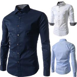 Colori camicie formali da uomo online-Camicie attillate da vestibilità elegante all'ingrosso-purezza Camicie da uomo Camicie da uomo Colletto classico con risvolto Camicie da uomo 3 colori