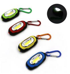 mejor mosquetón para llaves Rebajas Wholesal Mini 25lm 3 modos linterna portátil COB LED luz de la noche llavero antorcha flash llavero botón batería regalo