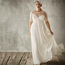 Wholesale 28w Cheap Wedding Gowns - Cheap Plus Size Beach Wedding Dresses 2016 Sexy Sheer Lace Applique Jewel Short SleeveIvory A Line Empire Chiffon Maternity Bridal Gowns
