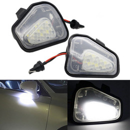 Wholesale Mirror License Plates - 2x Error Free 18 LED White Car Under Side Mirror Puddle Light Lamp Auto Bulb Car Light Source Fit for VW Passat EOS Scirocco CC
