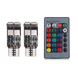 Wholesale Rgb Indicator - New RGB remote control T10 5050 6 SMD car clearance bulb indicator explosion flash atmosphere lamp DC12V