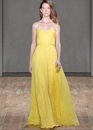 Wholesale Strapless Chiffon Yellow Dress - 2016 Yellow A Line Prom Dresses Sexy Strapless Cheap Chiffon Bridesmaid Dresses Draped Skirts Ruffles Evening Dresses