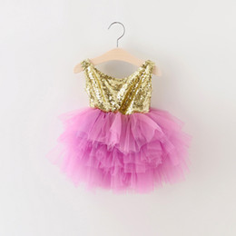 Wholesale Violet Gowns - EMS DHL Free Shipping Little Girl's Holiday Lace Casual kids dress Princess Gold Violet Dress Sequin Tiers Tutu Dress 90-130