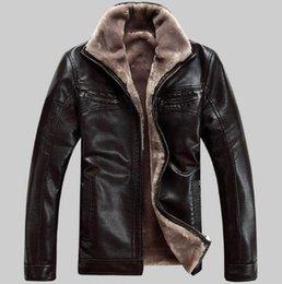 Wholesale Fashion Leather Garments - FreeShipping Hot Sale Winter Thick Leather Garment Casual flocking Leather Jacket Men's Clothing Leather Jacket Men High quality fashion