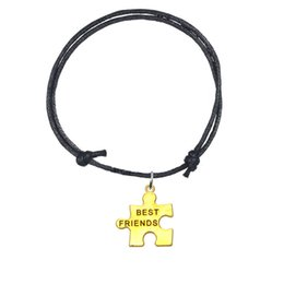 Wholesale circle puzzle - Mixed Colors Adjustable Wax Cord Bracelets Bangles With Gold Plated Best Friends Puzzle Piece Charm Bracelet Personalized Jewelry