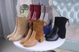 Wholesale Autumn Color Names - 2017 Spring Autumn Name Brand Woman Ankle Boots Suqare Heels Hot Sell Patchwork Suede Leather Fashion Boot High Heels Shoes Woman With Box