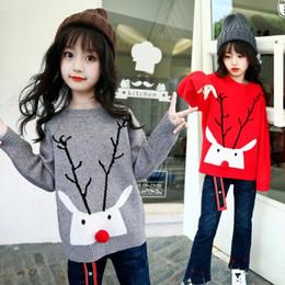 Wholesale Children Christmas Jumper Cotton - Kids Christmas sweater Korean Deer pompon Knit Princess pullover Autumn elk antlers Children bottomings sweater C2459