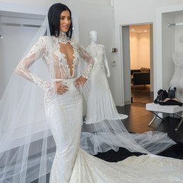 Wholesale Hole Beads - 2017 Illusion Lace Mermaid Wedding Dresses with High Collar Long Sleeves Plunging V-Neck Chapel Train Key Hole Back Beaded Sexy Bridal Gowns