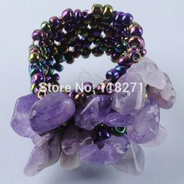 Wholesale wholesale stretch rings - Wholesale- Free shipping Chip Beads Stretch Finger Ring US 6~10 Charm Jewelry PJ142