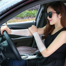 Wholesale Tattoo Arm Covers - Wholesale-Women Arm Sleeves To Cover Tattoos Lace Upper Arm Sun Protection UV Arm Covers Driving Cycling Fingerless Long Gloves Scar Cover
