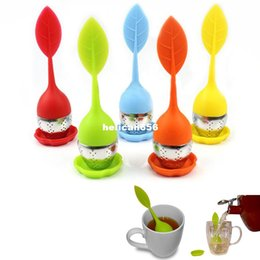 Wholesale Enamelled Pots - Silicon Tea Leaf Silicone Infuser Creative Food Grade Filter Strainers Stainless Steel Spoon Strainer Green Lid Pot Sphere Mesh Ball