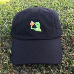 Wholesale Popular Green Tea - Kermit Tea Hat The Frog Sipping Drinking Tea Baseball Dad Visor Cap Emoji New Popular 6 Panel polos caps hats for men and women
