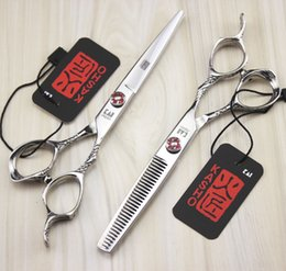 Wholesale Dragon Handle Scissors - Hairdressing Scissors 6'' 17.5cm 751# TOP GRADE Dragon Handle Kasho 440C Barbers Cutting Scissors Thinning Shears Hair Scissors