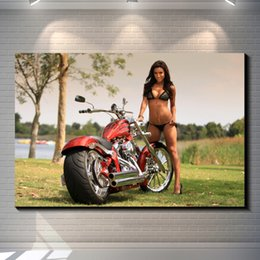Wholesale Vintage Bathroom Poster - Vintage Sexy Motorcycle Girl Poster posters Photo paper poster home decoration posters bar garage Pub Bar Home Decor Art Retro wallpaper