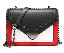 Wholesale Star Works - Cost prices sale Ladies leather shoulder bags 22cm small square Stars Metal rivets Crossbody Perfect bags work