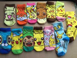 Wholesale Cute Socks For Kids - Cute Cartoon Anime Poke Go Pikachu Charmander Squirtle Children's Fashion Cotton kiss Sock Ankle for Kids PKC032