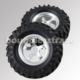 "Wholesale Rc Crawler Kit - DIY Kits 4 Pcs lot RC Tire Tyre Wheel 4x 1.9"" 1 10 96mm Silver Aluminum Wheels+Rubber Tires Tyre for RC Crawler"