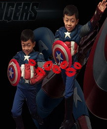 "Wholesale Conjoined Halloween Costumes - ""Kids Costumes Dressing Up COSPLAY Cartoon Clothing Muscle Captain America Clothing Children Halloween Clothes Conjoined Assemble"