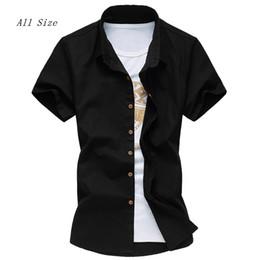 Al por mayor-M-4XL 5XL 6XL 2016 verano camisa de los hombres Solid manga corta camisas de vestir para hombres más el tamaño Mens Casual Blusas negro blanco desde fabricantes