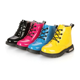 Wholesale Kids High Heeled Shoes - New High Children Sneakers PU Leather Boots Kids Shoes Girls Boys Baby Shoes Sport Autumn Winter Children Shoes