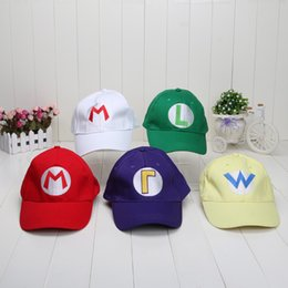 Wholesale Mario Minis - Super Mario Bros Cosplay hats Mario Luigi Wario Waluigi baseball Hat Super mario baseball hat 5 colors