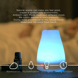 Wholesale Travel Air Humidifier - Ultrasonic Air Aroma Diffuser Humidifier 7 Color Change LED Night Light Electric Aromatherapy Essential Oil Aroma Diffuser Travel Humidifier