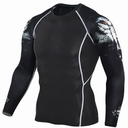 Wholesale Superman Lycra Tops - Free shipping Hot Sale Fitness MMA Compression Shirt Men Anime Bodybuilding Long Sleeve Crossfit 3D Superman Punisher T Shirt Tops Tees