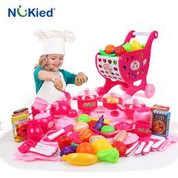 Wholesale Pretend Kitchen Food - NUKied 72PCS Untensils Kids Food Cook Kitchen Toy Children Cutting Food Set Classic Toy Multifunctional Pretend Play Set