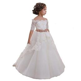 Wholesale Elegant Gowns For Little Girls - Elegant White Flower Girls Dresses For Weddings Off Shoulder Half Sleeves Champagne Sashes Little Girls Wedding Dresses Sweep Train