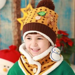 Wholesale Boys Toddler Fitted Caps - Winter Baby Warm Hats Christmas Beanie Cap Gifts Toddler Kids Boys Girls Lovely Bear Snowman Hat+Scarf Set Fit 1-4Years